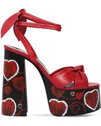 Saint Laurent - Paige Platform Leather Sandals - Lyst