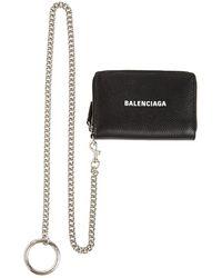 Balenciaga Кредитница Из Кожи С Цепочкой - Черный