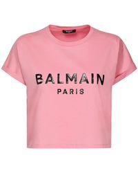 Balmain - コットンジャージークロップドtシャツ - Lyst
