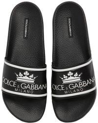 Dolce & Gabbana - D&g Rubberized Leather Slide Sandals - Lyst