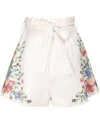 Zimmermann Bellitude Floral Print Linen Shorts - Multicolour
