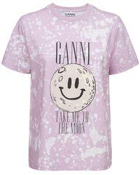"""Ganni T-shirt Aus Bio-baumwolle """"the Moon"""" - Pink"""