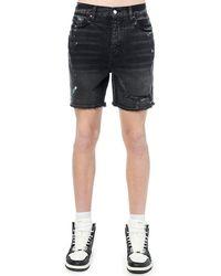 Amiri Shorts In Denim Di Cotone Dipinto - Nero