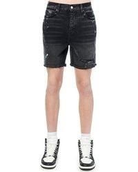 Amiri Shorts De Denim De Algodón Salpicaduras De Pintura - Negro