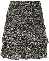 Étoile Isabel Marant Naomi Floral Cotton Voile Miniskirt - Black