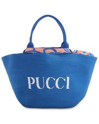 Emilio Pucci Riva Beachラフィア&ナイロンバッグ - ブルー