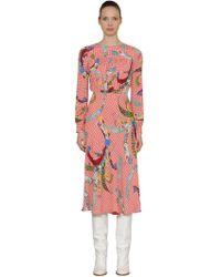 Stella Jean - Asian Print Viscose Crepe Midi Dress - Lyst