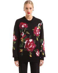 Dolce & Gabbana - Floral Intarsia Wool Blend Knit Sweater - Lyst