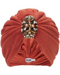 MaryJane Claverol Souk Knotted Terry Cloth Turban - Red