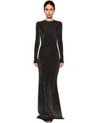 Balenciaga Длинное Бархатное Платье - Черный
