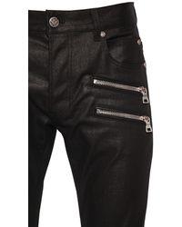 Balmain 15cm Jeans Aus Gewachstem Baumwolldenim - Schwarz