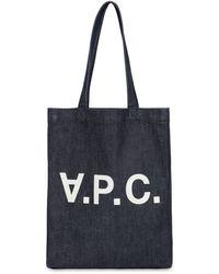 A.P.C. Tote Aus Baumwolldenim Mit Logodruck - Blau