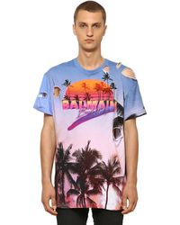 Balmain オーバーサイズ デストロイドコットンジャージーtシャツ - ブルー
