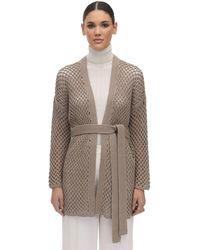 Agnona Belted Cashmere Knit Cardigan - Natural
