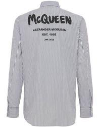 Alexander McQueen - Camisa De Algodón A Rayas Con Estampado Graffiti - Lyst