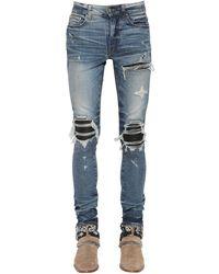 Amiri 15cm Mx1 Cotton Denim Jeans W/ Leather - Blue