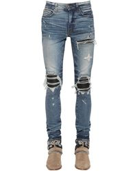 "Amiri 15cm Jeans Aus Baumwolldenim Mit Leder ""mx1"" - Blau"