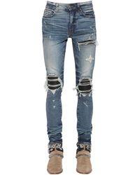 Amiri Jeans De Denim De Algodón Con Piel 15Cm - Azul