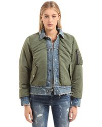 Amiri Reversible Denim & Nylon Bomber Jacket - Green