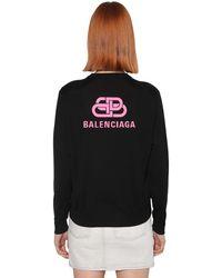 Balenciaga Strickpullover Aus Wolle Mit Logo - Schwarz