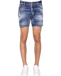 DSquared² Shorts De Denim De Algodón 26.5Cm - Azul
