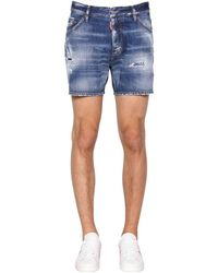 DSquared² 26.5cm Dan Commando Cotton Denim Shorts - Blue