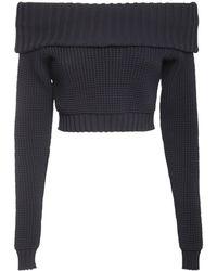 Sunnei Off-the-shoulder Knit Crop Top - Blue