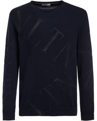 Valentino ウールブレンドインターシャニットセーター - ブルー