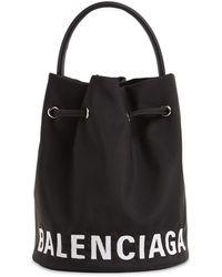 Balenciaga Xs Wheel Printed Nylon Bucket Bag - Black
