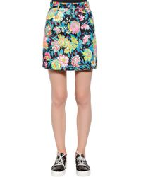 MSGM - Floral Printed Cotton Denim Mini Skirt - Lyst