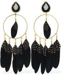 Mercedes Salazar Chaman Hoop Feather Clip-on Earrings - Schwarz