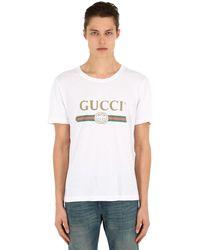 Gucci T-Shirt aus gewaschenem Stoff mit Print - Weiß