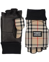 Burberry Guanti In Misto Cotone Check 3 In 1 - Nero
