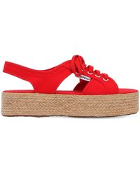 Superga 40mm Canvas Platform Sandals - Red