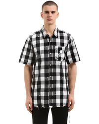MASTERMIND WORLD Skull Checked Flannel Short Sleeve Shirt - Black