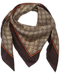 Gucci Gg Print Silk Scarf W/ Horsebit - Brown