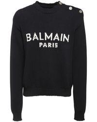 Balmain Oversize Logo Intarsia Wool Knit Jumper - Black