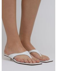 BY FAR 30mm Jack Leather Thong Sandals - White