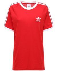 adidas Originals 3-stripes コットンtシャツ - レッド