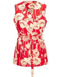 Gucci Шелковый Жилет С Принтом - Красный