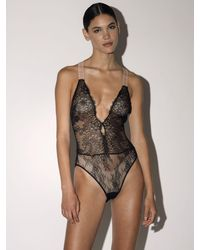 Off-White c/o Virgil Abloh Lvr Exclusive Lace One Piece Bodysuit - Black
