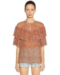 Giamba - Ruffled Floral Print Silk Georgette Top - Lyst