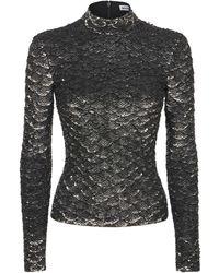 Balenciaga Metallic Sequined Turtleneck Top - Mettallic