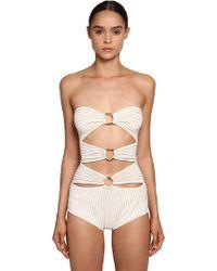 Elie Saab Gold Rings Knit Bodysuit - White