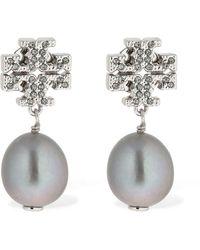 Tory Burch Kira Pavé Pearl Drop Earrings - Metallic