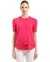 Moncler Suéter De Punto Tricot De Nylon Y Algodón - Rosa