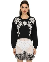 Francesco Scognamiglio - Crystal Embellished Jersey Sweatshirt - Lyst