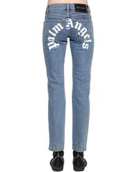Palm Angels Jeans In Denim Di Cotone Con Logo - Blu