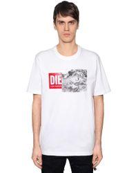 DIESEL - Reworked Logo Cotton Jersey T-shirt - Lyst