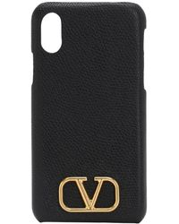 Valentino Garavani Valentino Garavani Grained Leather Iphone X/xs Case - Black